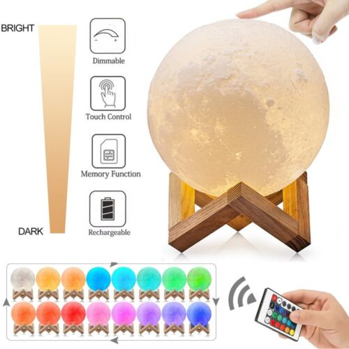 3D Printing Moon Lamp USB LED Night Light Moonlight Touch Color Changing 8-18CM Home & Garden