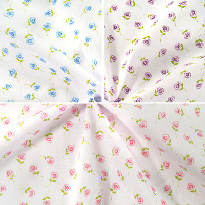 Polycotton Fabric Single Rose Floating Floral Flowers Craft Material (Fabric Floating Flowers)
