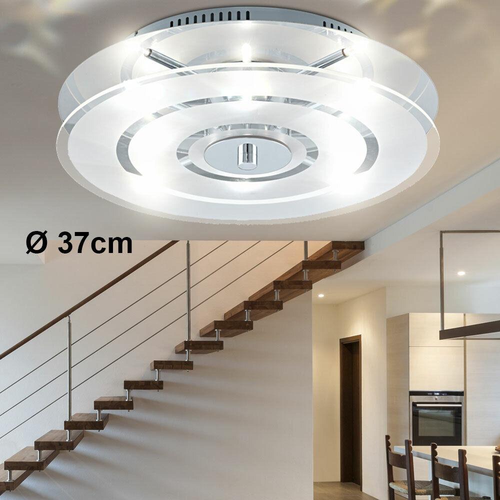 Decken Lampe Glas Flur Bad Küchen Leuchte Rund 37cm Wohn Ess Zimmer Beleuchtung