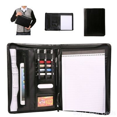 Leather File Folder Padfolio Writing Pad Business Presentation Portfolio Black