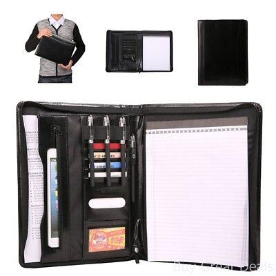 Leather File Folder Padfolio Writing Pad Business Presentation Portfolio Black