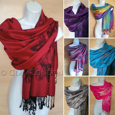Butterfly Print Pashmina Warm Soft Scarf Ladies Womens Holiday CHRISTMAS GIFT - Butterfly Print Scarf