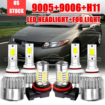 For Honda Civic 2006-2015 LED Headlight High Low Beam Fog Light Combo Bulbs Kit