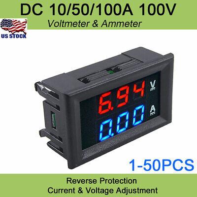 Digital Voltage Meter Dc100v 1050100a Voltmeter Ammeter Bluered Led Amp Dual