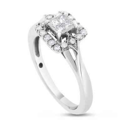 0.25 CT Natural Diamond Illusion Set Halo Promise Ring in Solid 10k White Gold