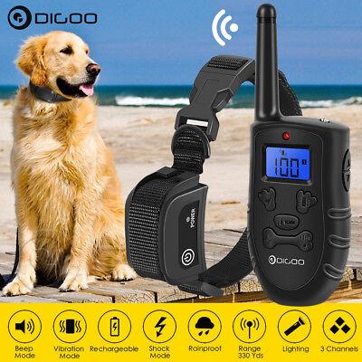 Digoo LCD Electric Dog Shock Bark Collar Remote Training Trainer Waterproof 300M