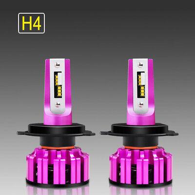 Pair CSP H4 LED Headlight Bulb Kit 72W 28000LM Hi-Lo Beam Xenon 6000K White Pink