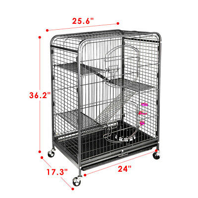 4-Tier Ferret Cat Cage Powder Coated House for Hamster Guinea Pig Chinchilla