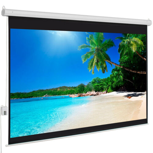 """100"""" 4:3 HD 80"""" x 60"""" Electric Motorized Projector Screen + Remote"""
