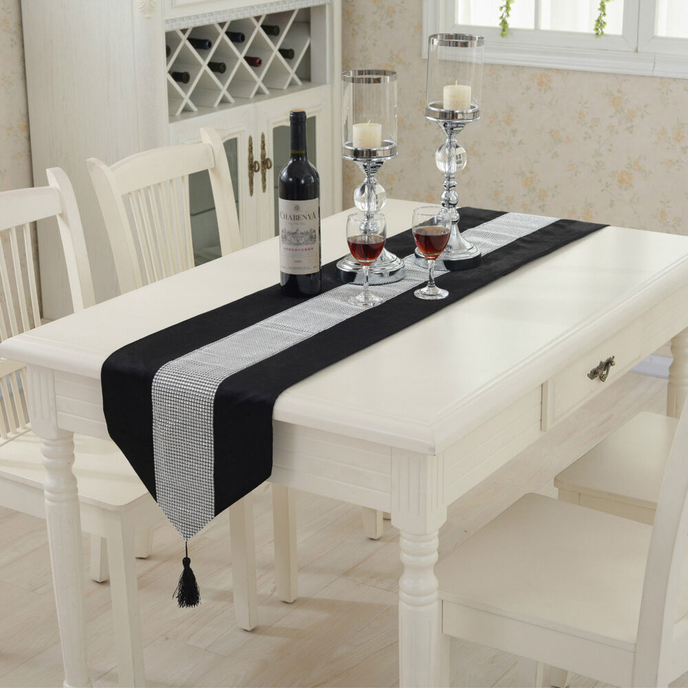 Modern Rhinestone Dining Table Runner Tablecloth + 2PCS Placemats