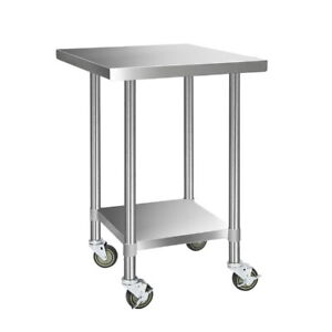 Abbey Commercial Stainless Steel Kitchen Bench with 4 Castor Wheels 762 x 762mm - SHSSKB-430S-76-WHEEL-30