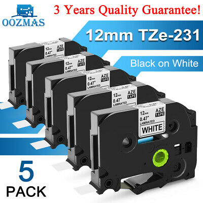5 Pk Compatible Label Maker Tape 12mm For Brother P-touch Tz-231 Tze-231 Pt-d210