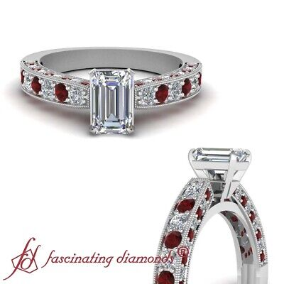 1.5 Ct Emerald Cut VVS1 D Color Diamond & Red Ruby Cathedral Engagement Ring GIA