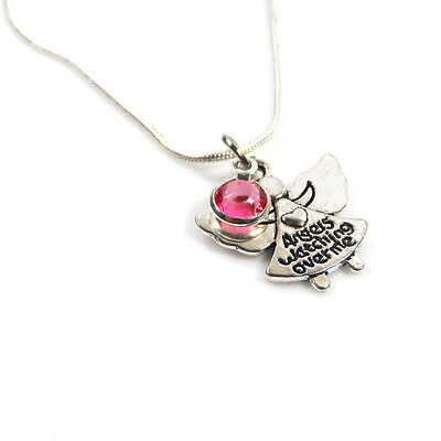 Silver Plated Angel Watching Over Me Birthstone Necklace – Free Delivery