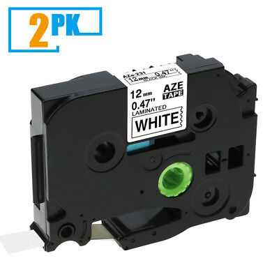 2pk Black On White Label Tape Tz231 Tze231 12mm 12 X 8m For Brother P-touch