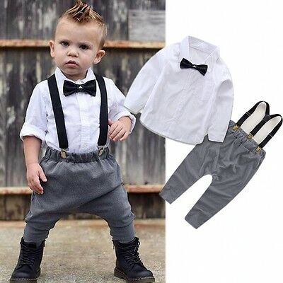 (Newborn Infant Baby Boys Gentleman Clothes Shirt Tops Bib Pants Outfits Set Mon)
