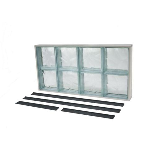 """Wave Pattern Solid Glass Block Windows Replaceable Screen Frame 15.75"""" X 31.625"""""""