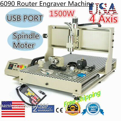 Usb 4axis 6090 Cnc 3d Desktop Router Engraving Machine Drill Vfd 1500whandwheel