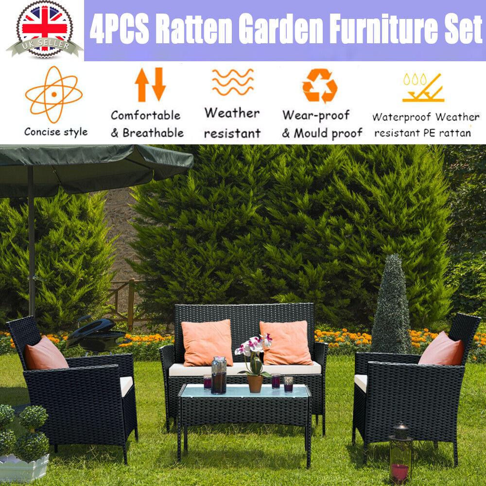 Garden Furniture - 4PCS Patio Ratten Garden Furniture Set Table Chair Sofa cushion Outdoor indoor