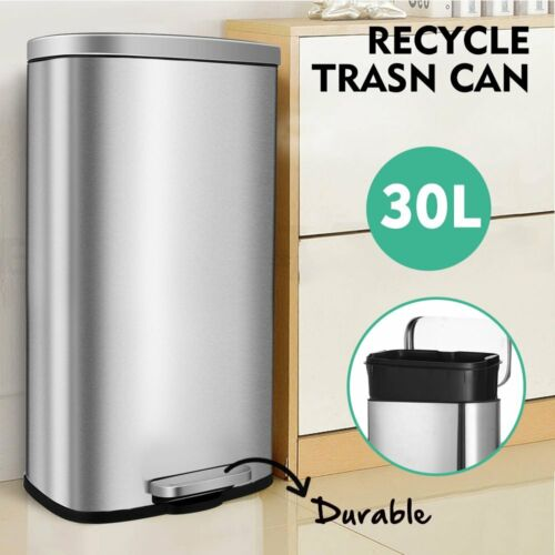 8 Gallon Trash Can,Garbage Bin with Lid and Inner Bucket for