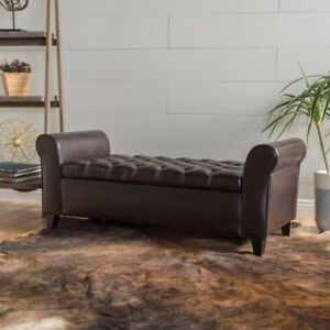 Ultima Leather Armed Indoor Storage Bench, Brown