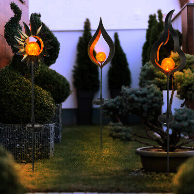 3x LED solar plug light drop sun flame design garden decoration lamp black new