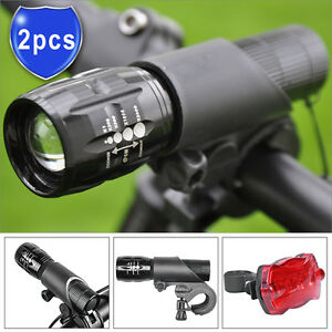 2x CREE Q5 LED Bike Bicycle Cycle Zoomable Torch Front Lights + 5 LED Rear Lamp