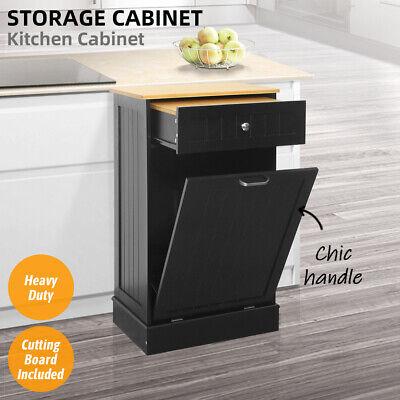 Kitchen Storage Cabinet Buffet Cupboard W/Bamboo Sliding Drawer Trash Can Holder