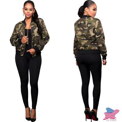 Autumn Newest Camouflage Print Baseball Uniform Zipper Jacket Casual Women Coat