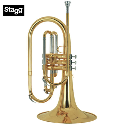 NEW Stagg WS-MB225 F Marching Mellophone Clear Lacquer, 3 Pistons, with Case