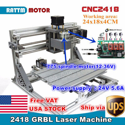 Usa3 Axis 2418 Cnc Mini Diy Laser Machine Grbl Control Pcb Milling Wood Router