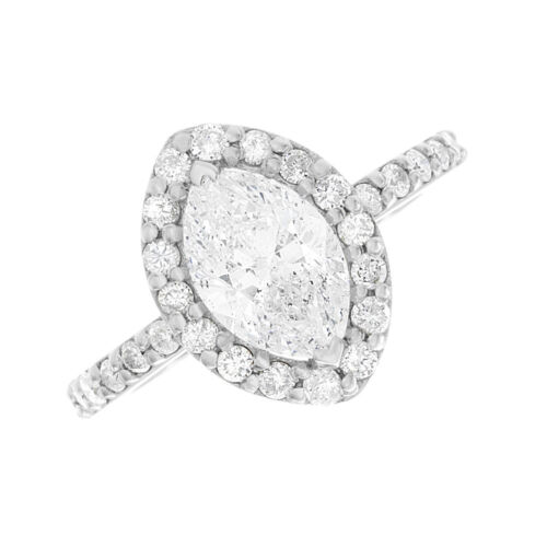 Best seller Halo Style GIA Certified Marquise Diamond Engagement Ring 3.10 CTW 3
