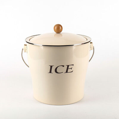 T686 Ivory 4L Metal Double Walled Ice Bucket With Lid/wooden Handle And Scoop](Metal Bucket With Lid)