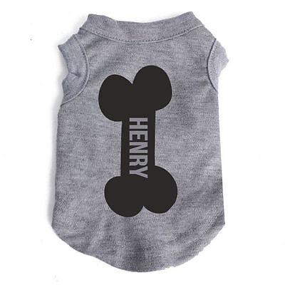Personalised Your Dogs Name vest bone small pet clothing sleeveless UK SELLER