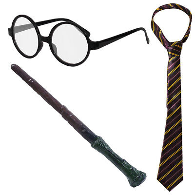 WIZARD BOY COSTUME FILM CHARACTER WORLD BOOK DAY TIE GLASSES WAND FANCY DRESS - Boy Book Character Costumes