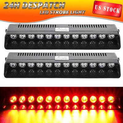 2X 12 LED Emergency Warning Strobe Light Bar Car Visor Beacon Hazard Dash RED