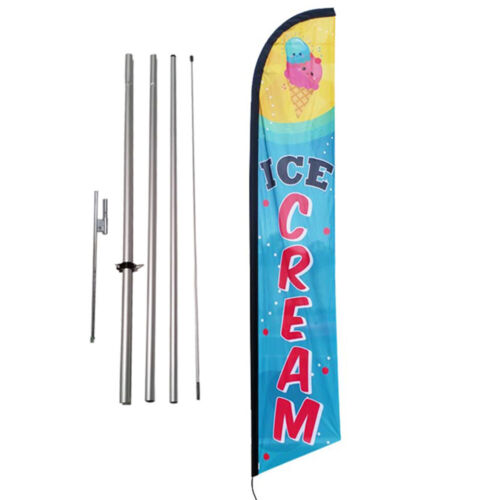 Ice Cream Feather Banner Swooper Flag Kit with pole+spike