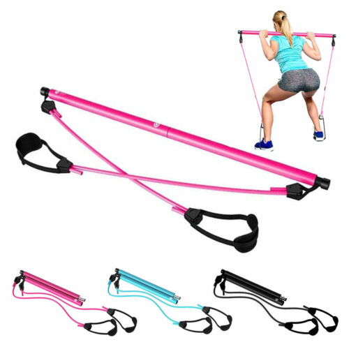 Portable Upgraded Pilates Bar with Resistance Bands, Total Body Workout 3 Colors