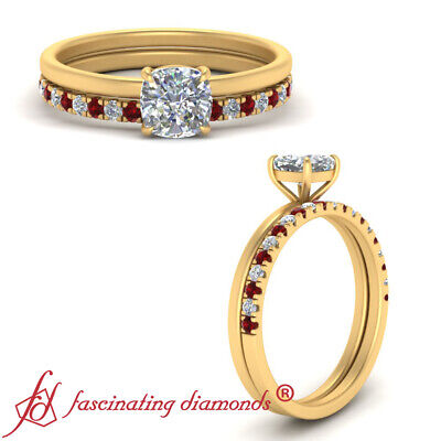 .75 Carat Cushion Cut Diamond And Ruby Gemstone Whisper Thin Wedding Ring Set