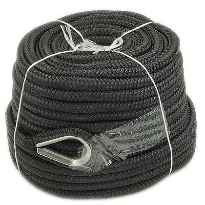 - Anchor Rope 1/2 Inch 150 Feet Double Braided Nylon Rope with Thimble Black
