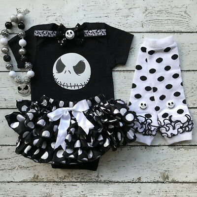 US Newborn Baby Girl Halloween Clothes Set Romper+Tutu Shorts+Leg Warmers Outfit