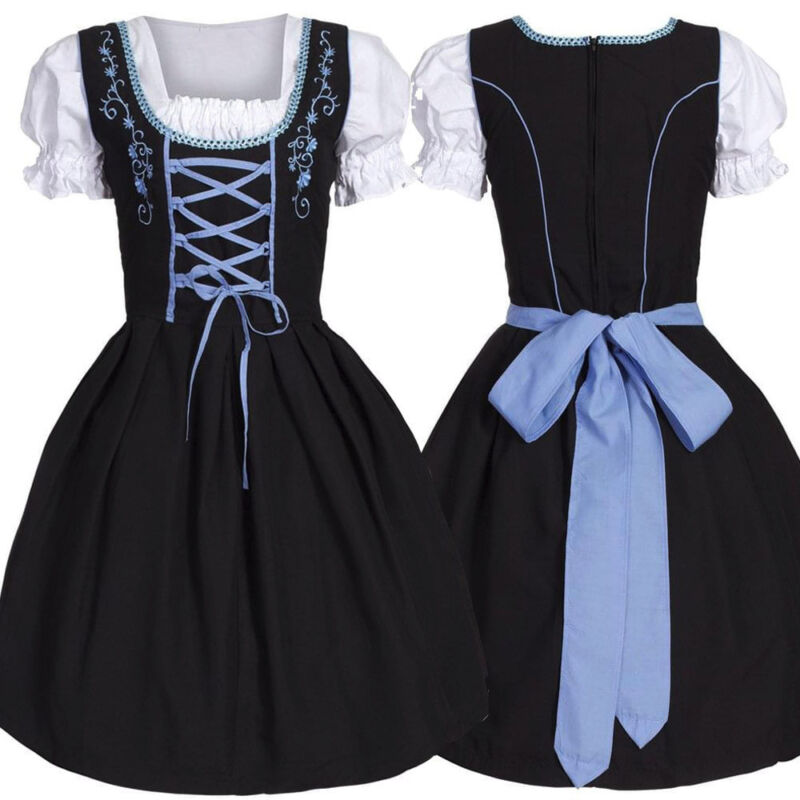 Ladies Cheers Traditional German Oktoberfest Dirndl Fancy Dress Servant Costum
