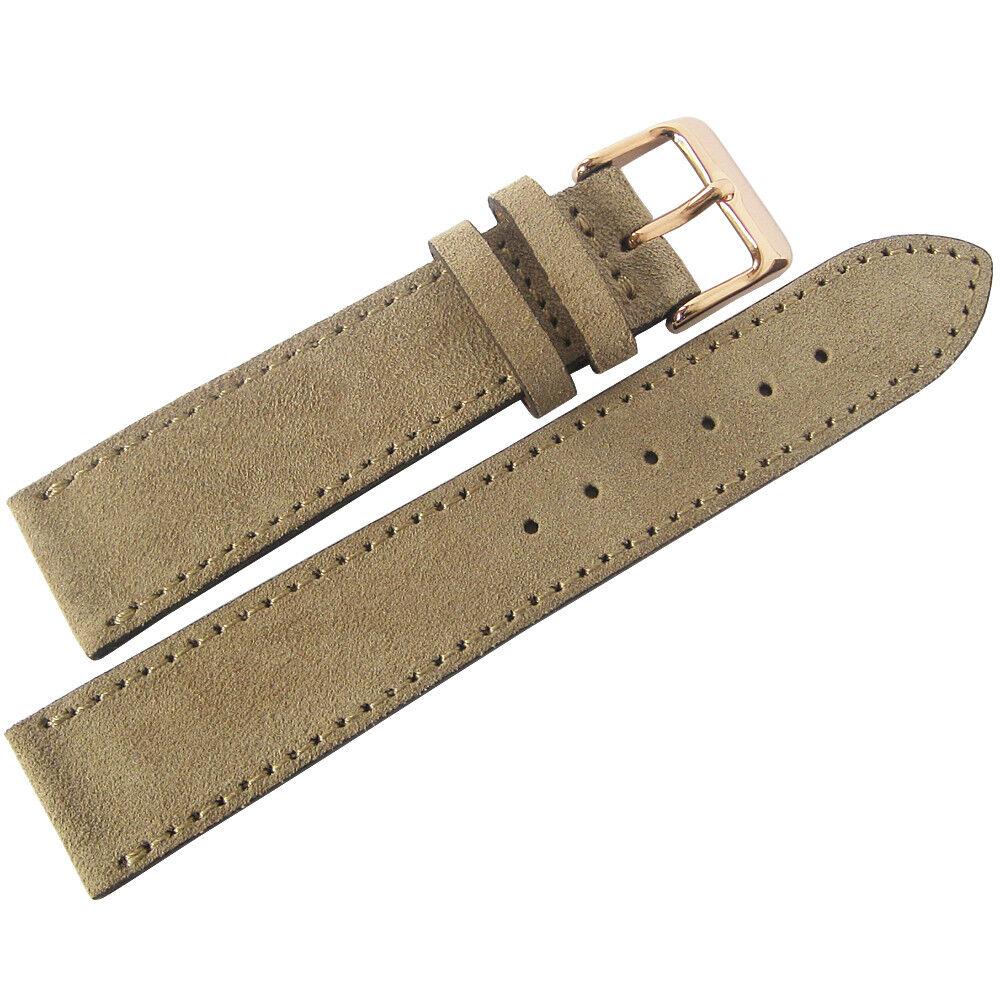 19mm Fluco Mens SHORT Tan Suede Leather ROSE Gold Buckle Ger