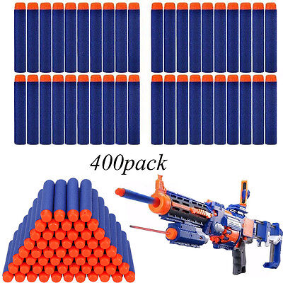 400pcs Bullet Darts For NERF Kids Toy Gun N-Strike Round Head Blasters Blue