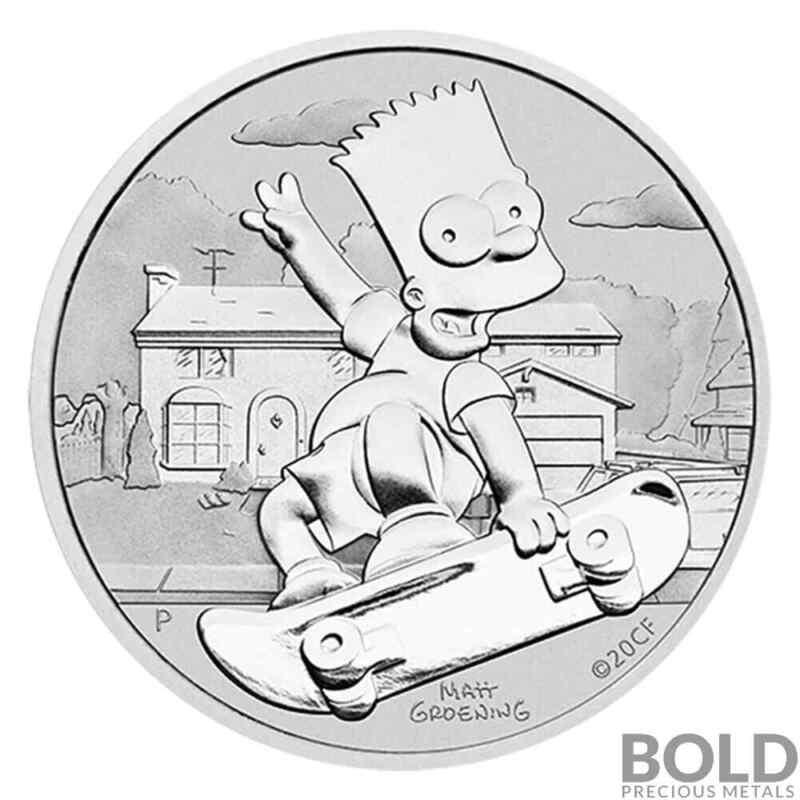 2020 Tuvalu Bart Simpson 1 oz Silver BU