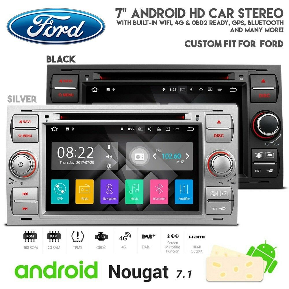 Ford Focus Connect Fiesta 7 Inch Android Hd Screen Wifi Gps Broadcast Wiring Jobs London Bluetooth Radio Dvd Usb Sd Aux Stereo