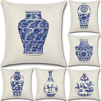 blue and white porcelain Cotton Linen Cushion Cover Throw Pillow Case Home Decor