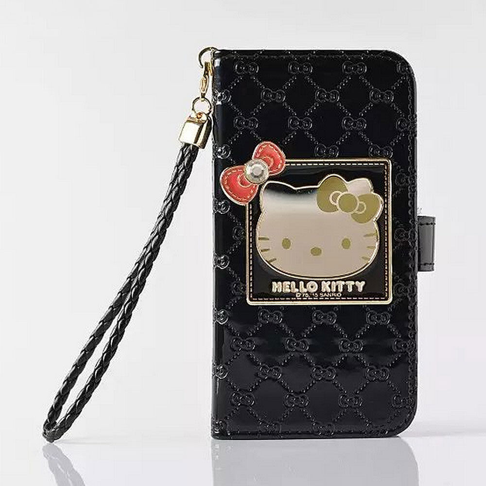 Hello Kitty Phone Case Leather Cover Stand Handbag Card Slot Strap Walet Black Soap Original Box Diamond Wallet Flip