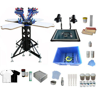 4 Color 4 Station Silk Screen Printing Kit Rotary Shirt Press Printer Shirt Diy
