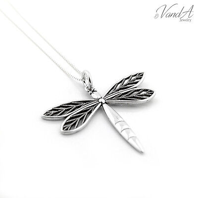 (Sterling silver Dragonfly Charm Necklace Pendant 925 Jewelry with Box chain N60)